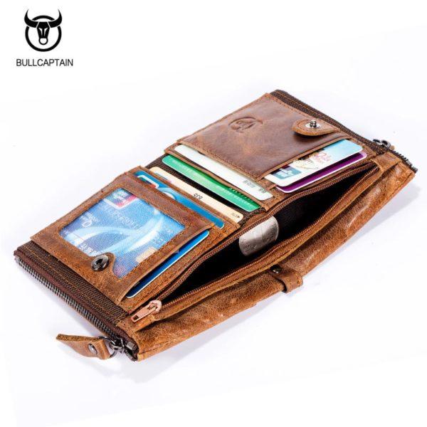 BULL CAPTAIN Vintage BIFOLD brand leather MEN wallets cowhide zipper SHORT money wallet hasp card holder small coin purse ...